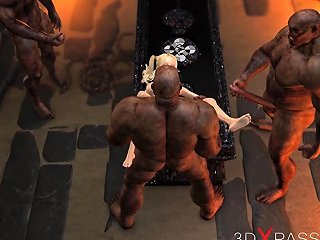 Teenage Girl Gets Fucked Hard By Brutal Orcs In Dungeonn Nuvid