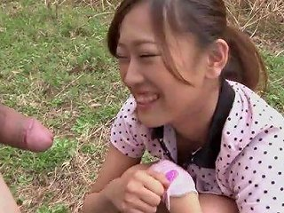 Subtitled Bottomless Outdoor Japanese Golf Blowjob Uncensored In Hd