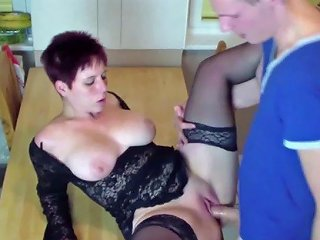 German Son Seduce New Step Mom To Fuck In Kitchen At Morning