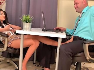 Sexy Footjob Under Table For Pay Rise