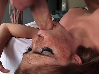 Freckled Face Faye Flings Her Head In Agony As Her Shaved Pussy Undergoes Battering