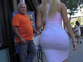 Big Booty In White Dress