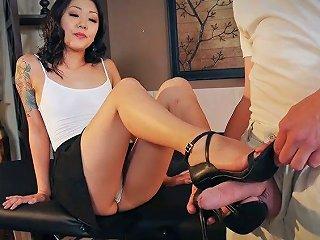 Dominant Asian Brunette Saya Song Makes Dude Suck Her Feet