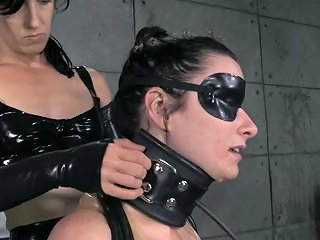 Bound And Blindfolded Brunette Lady Is Leashed Like A Slave
