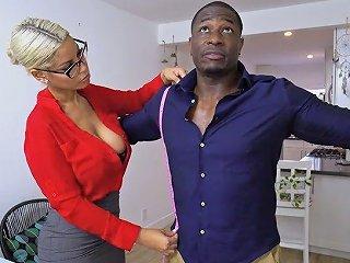 Bosomy Seamstress Bridgette B Gets Intimate With Well Endowed Black Client