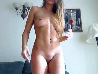 Cute Pierced Nipples Teen Is Practicing Masturbation