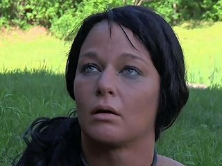 Brunette Leashed MILF Slut Buried In The Ground Outdoors