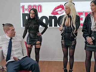 Clea Gaultier And Her Friends Work On Phone Sex And Enjoy A Group Fuck