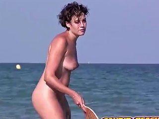 Sexy Naked Nudist Lady Beach Tennis Game Voyeur Spy