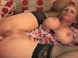 Blonde Wife In Stockings Has Huge Boobs