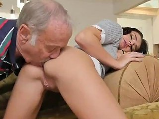 Old Man Cums Inside Young Pussy Riding The Old Wood