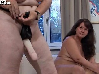 Guy Gets Fucked With A Strapon By Horny Grannies