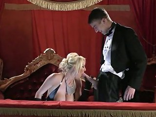 Glamorous Blonde With Massive Boobs Gives Good Blowjob At The Theater