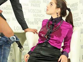 Satin Blouse And Skintight Skirt On A Deepthroating Girl