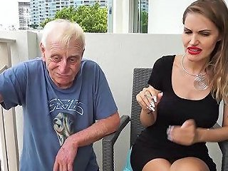 Skinny Blonde Smoking Backstage With An Old Grandpa Any Porn