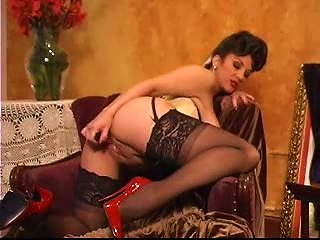 Girl In Vintage Lingerie Using A Toy
