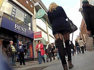 Walking Black Pantyhose 2