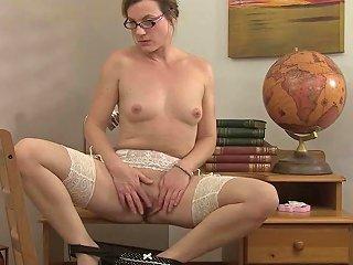 Sexy Milf Teacher Sofia Matthews Fingers Her Shaved