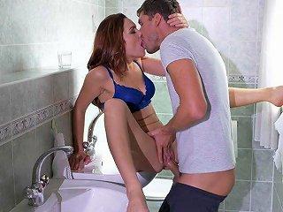 Kristof Is Fucking A Hot Redhead Slut Over The Sink Cumshot Ending
