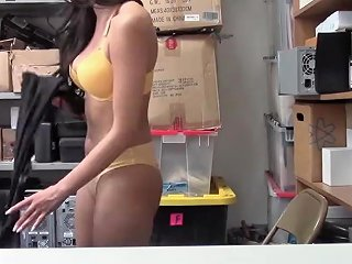 Down Goes The Shoplyfter Sucking A Big Cock Deep Down Her Throat