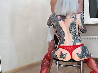 Slut In Stockings Does Blowjob