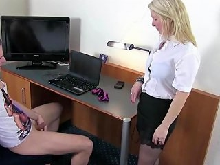 German Mom Caught Step Son Jerk And Help Him With Fuck