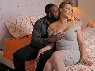 Stunning Big Racked Pale Hottie Ryan Keely Goes Interracial To Enjoy Doggy Fuck